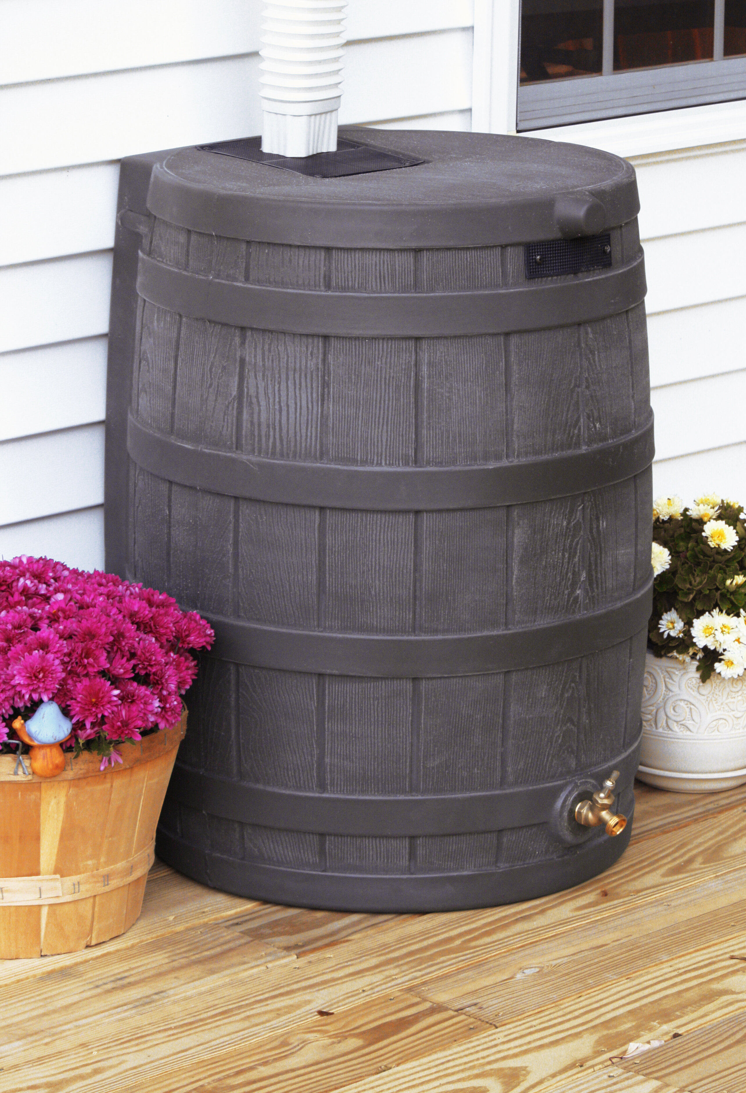 3 Pack Good Ideas Rain Wizard 50 Gallon Plastic Rain Barrel with Brass Spigot