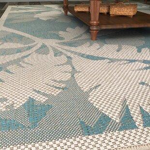Odilia Coastal Flora Ivory Turquoise Indoor Outdoor Area Rug