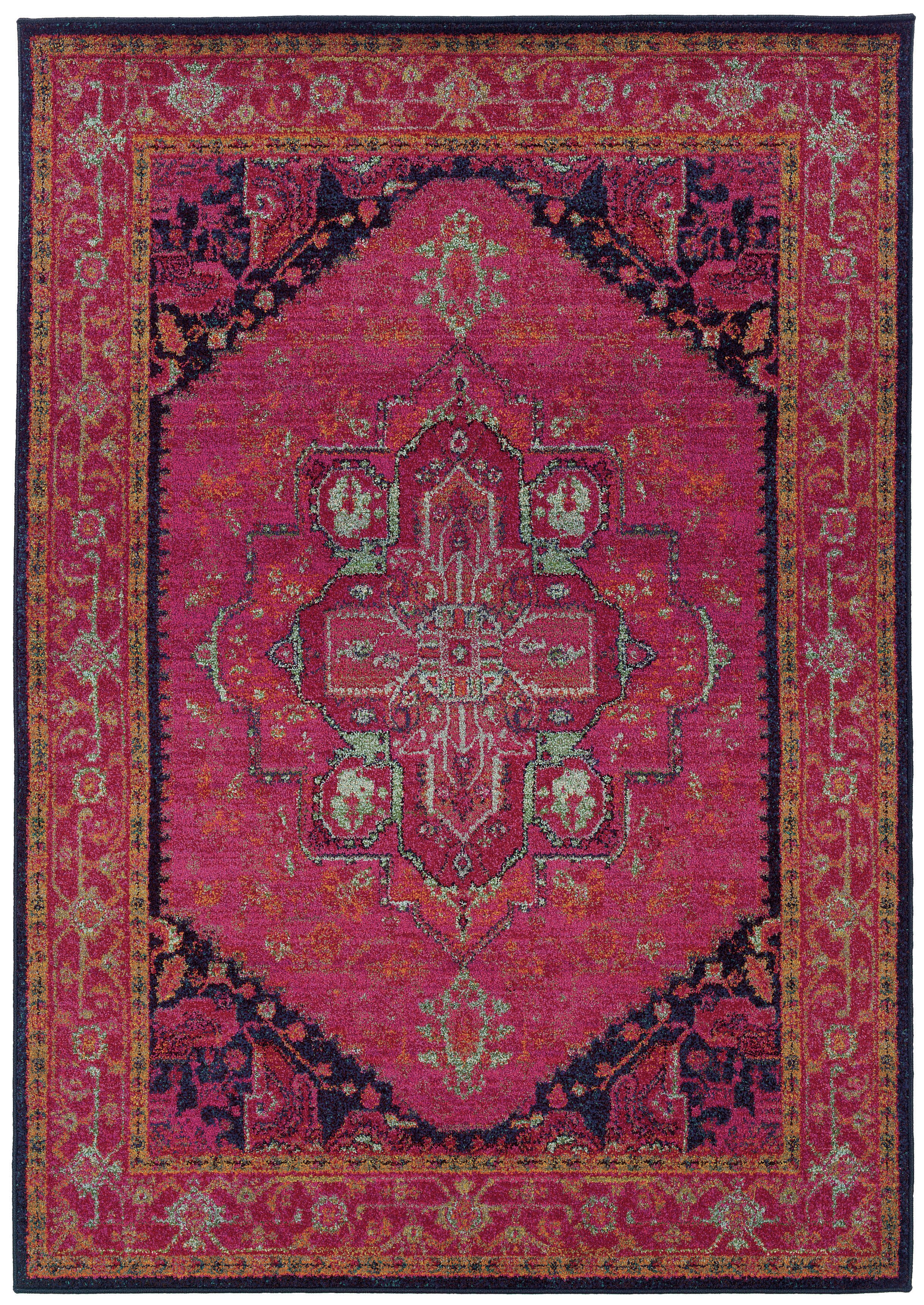 Picture of: Pasargad Kaleidoscope Oriental Pink Black Blue Area Rug