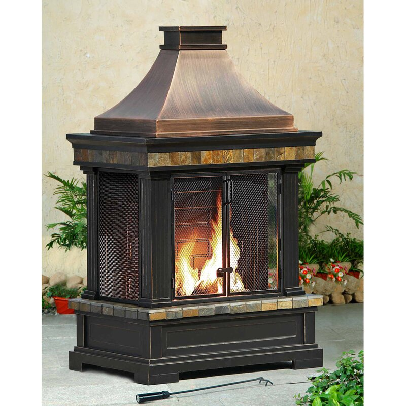Sunjoy Brownston Steel Wood Burning Outdoor fireplace & Reviews ...