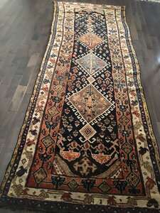 """One-of-a-Kind Grim Royal Timeless Persian Caucasian Tribal Hand-Knotted Runner 3'5"""" x 9'10"""" Wool Multicolor Area Rug"""