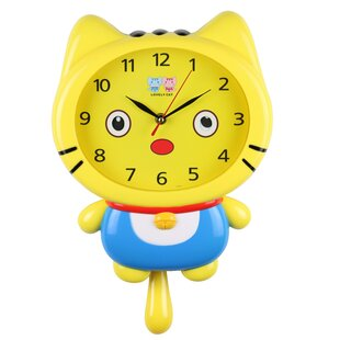 Kerber Cat Movable Eyes Children's Wall Clock by Zoomie Kids