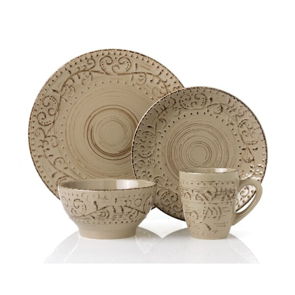 Lorren Home Trends Round Stoneware 16 Piece Dinnerware Set Service for 4 u0026 Reviews | Wayfair  sc 1 st  Wayfair & Lorren Home Trends Round Stoneware 16 Piece Dinnerware Set Service ...