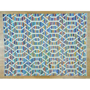 Order One-of-a-Kind Gage Handmade Kilim 9' x 12' Wool Blue/White Area Rug By Isabelline
