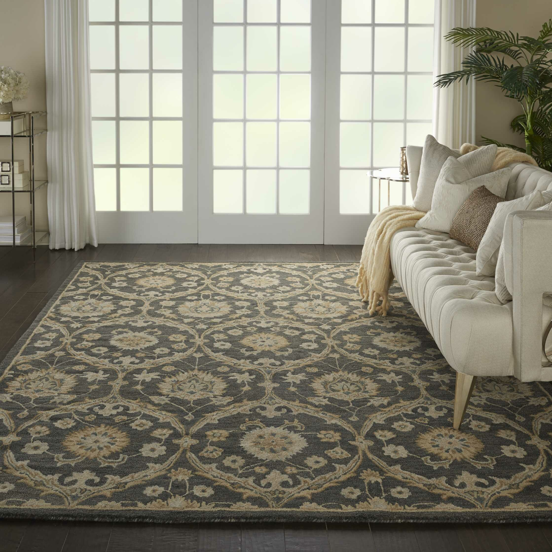 Charlton Home Bade Floral Hand Tufted Wool Navy Blue Beige Area Rug Reviews Wayfair Ca