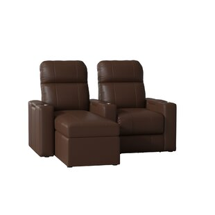 Modern Leather Home Theater Loveseat Row of 2 by Red Barrel Studio