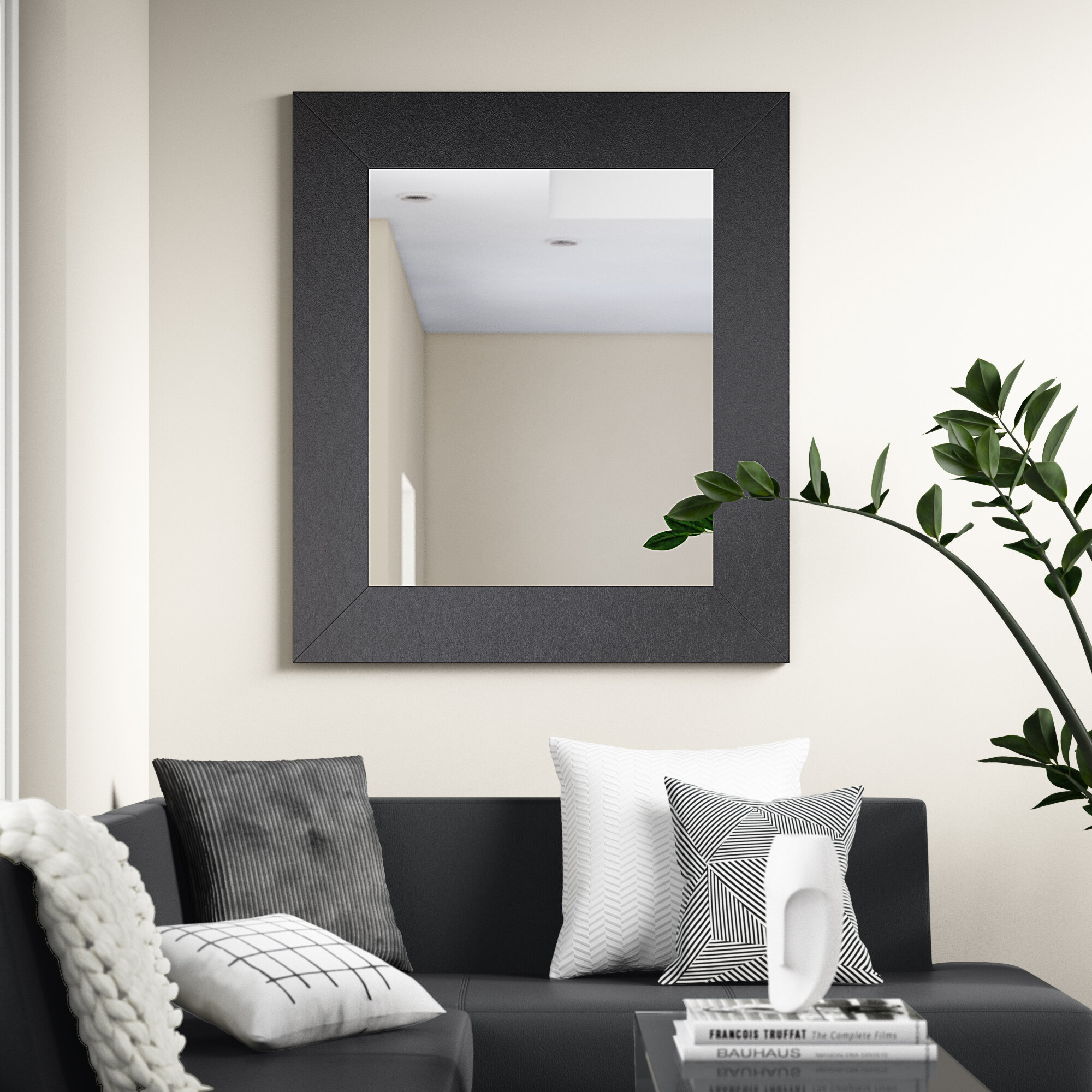 Rectangle Black Wide Leather Wall Mirror