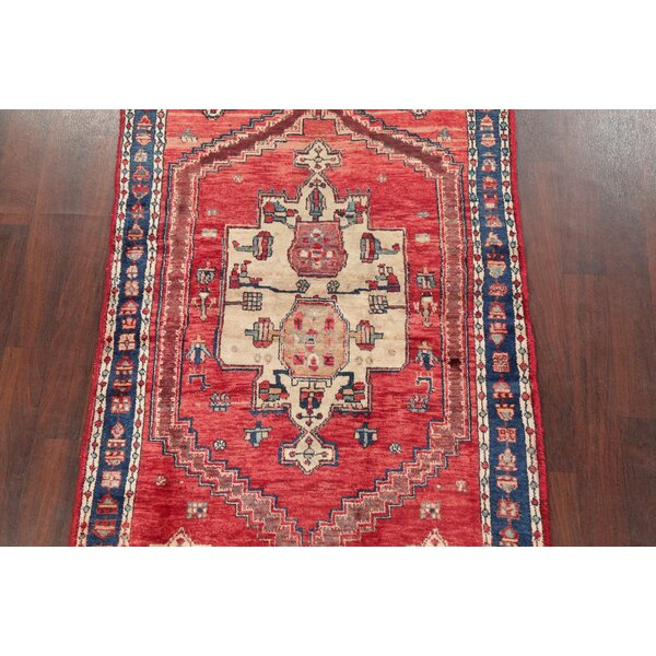 Isabelline One Of A Kind Stansbury Hand Knotted Red 4 2 X 6 3 Wool Area Rug Wayfair