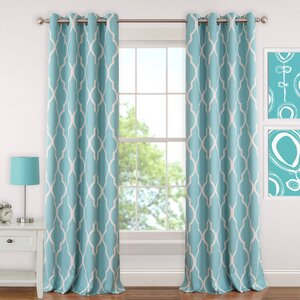 Emery Juvenile Geometric Blackout Grommet Single Curtain Panel
