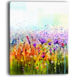 Abstract Cosmos of Colorful Flowers Large Flower Painting Print on Wrapped Canvas