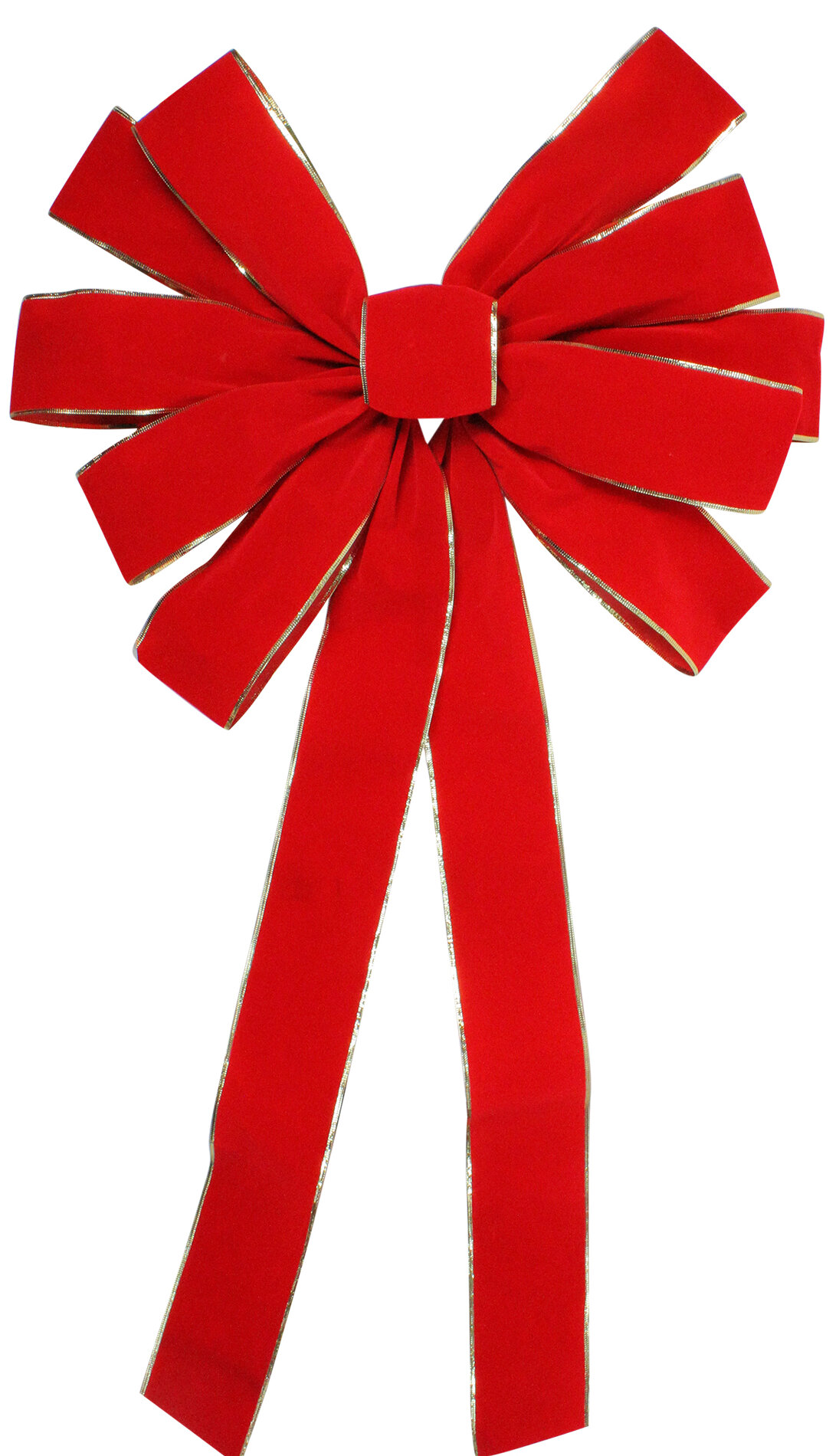 Northlight 24 X 42 Large Red 11 Loop Velveteen Christmas Bow With Gold Trim Wayfair