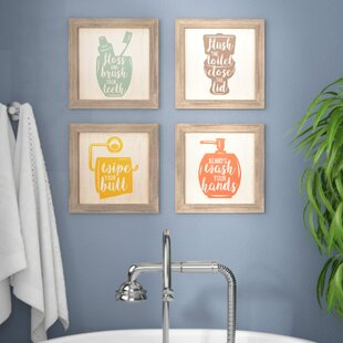 'Floss, Flush, Wipe, Wash' Framed Graphic Art Print Set on Wood (Set of 4)