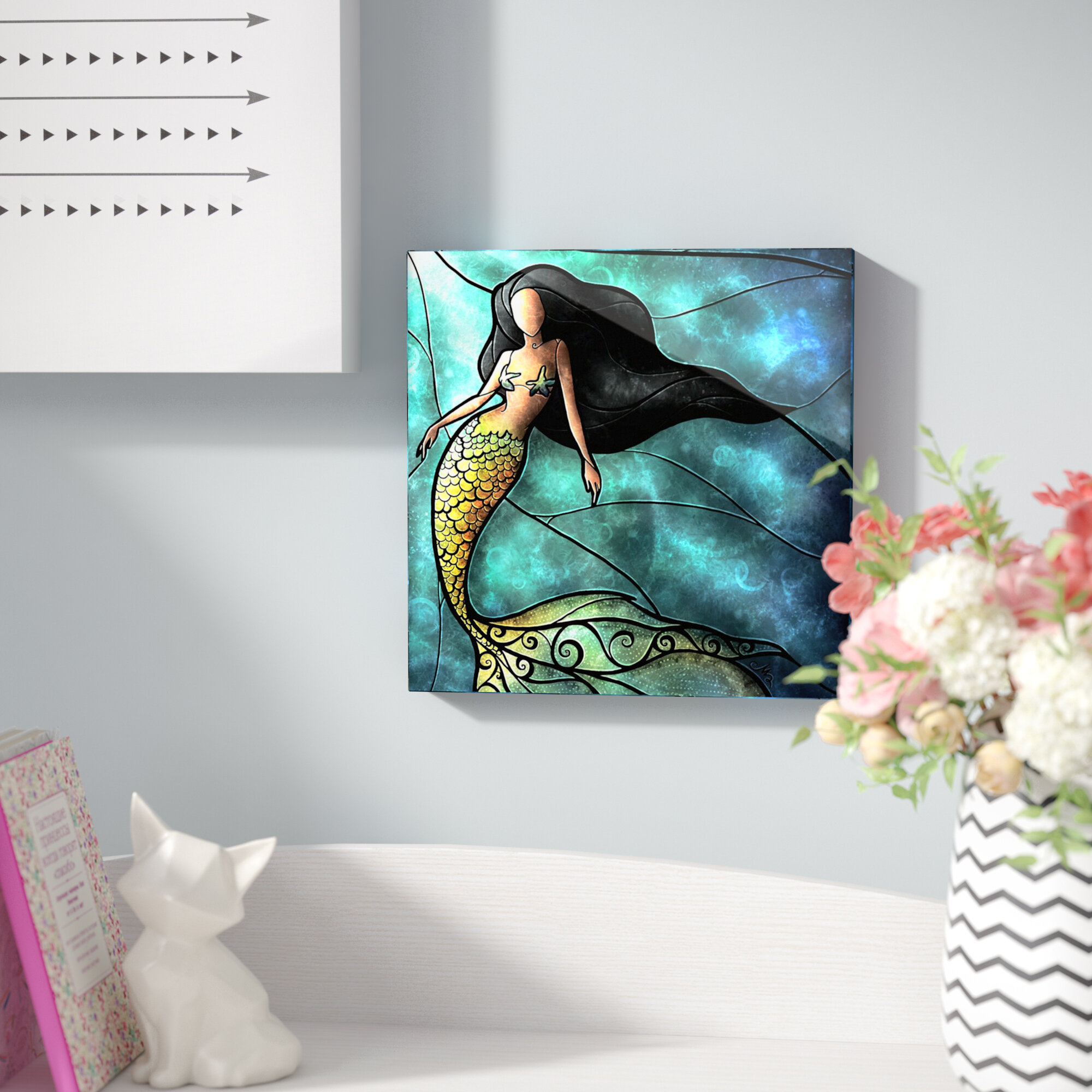 East Urban Home \'Mermaid\' Graphic Art Print on Metal | Wayfair