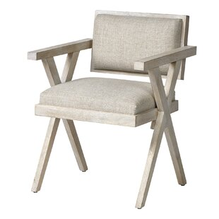 Flendersen Solid Back Arm Chair in Cream