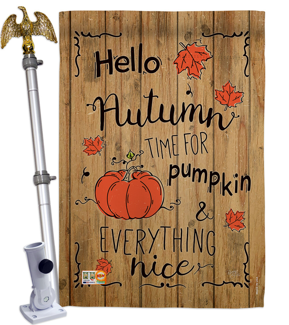 Breeze Decor Hello Autumn Time For Pumpkin 2 Sided Polyester 40 X 28 In Flag Set Wayfair