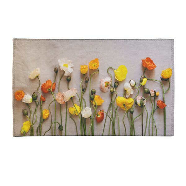 East Urban Home Dried Flowers Chenille Off White Yellow Red Area Rug Wayfair