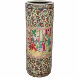 Oriental Furniture Rose Medallion Porcelain Umbrella Stand