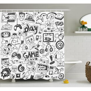 Video Games Black and White Single Shower Curtain