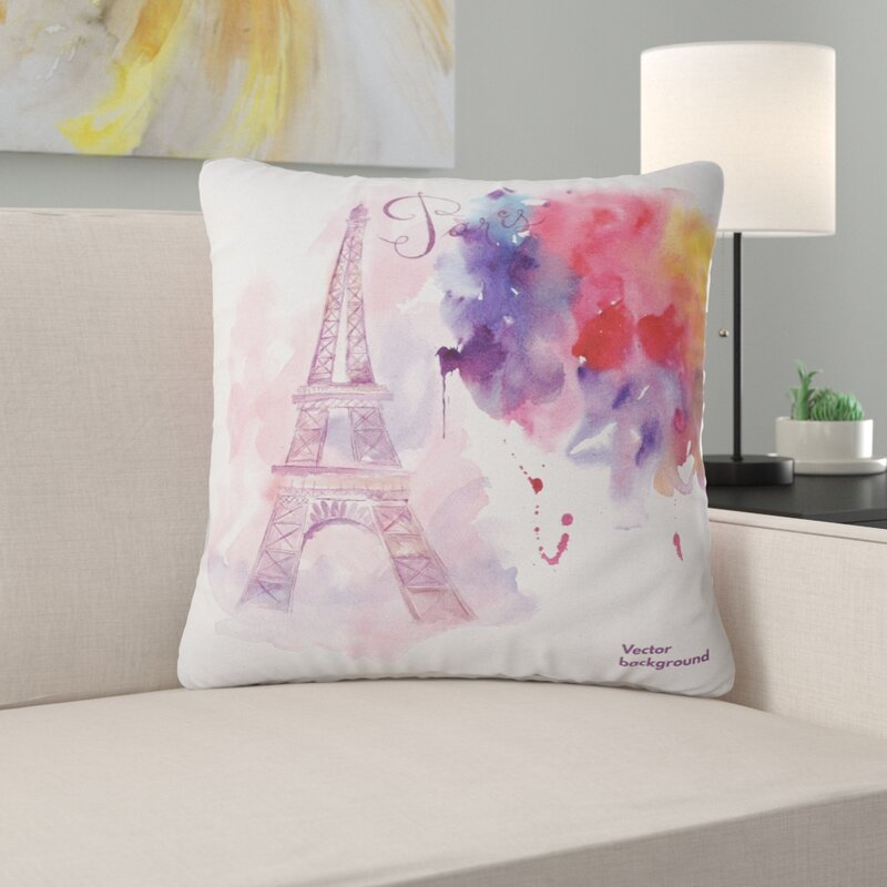 East Urban Home Watercolor Painting Paris Eiffel Tower In Cloud Pillow Wayfair