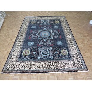 Buying One-of-a-Kind Best Hand-Knotted Wool Black Area Rug By Isabelline