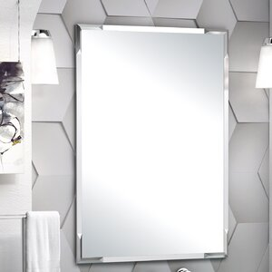 Faceted Flush Mount Framed Bathroom Mirror