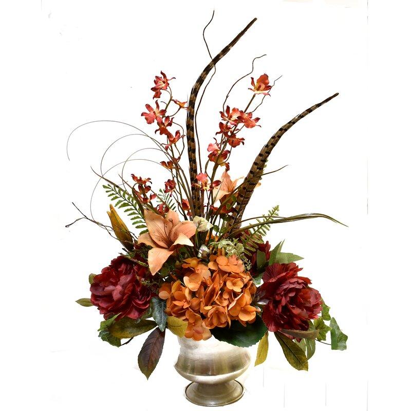 Latitude Run Silk Floral Mixed Centerpiece In Vase Wayfair
