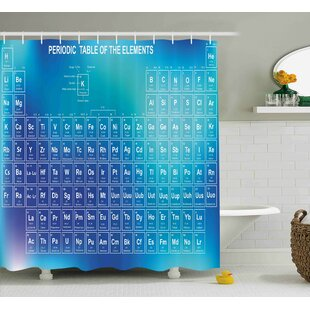 Leonidas Science Chemistry Element Table Modern Image With Blue Attentive Backdrop Art Single Shower Curtain