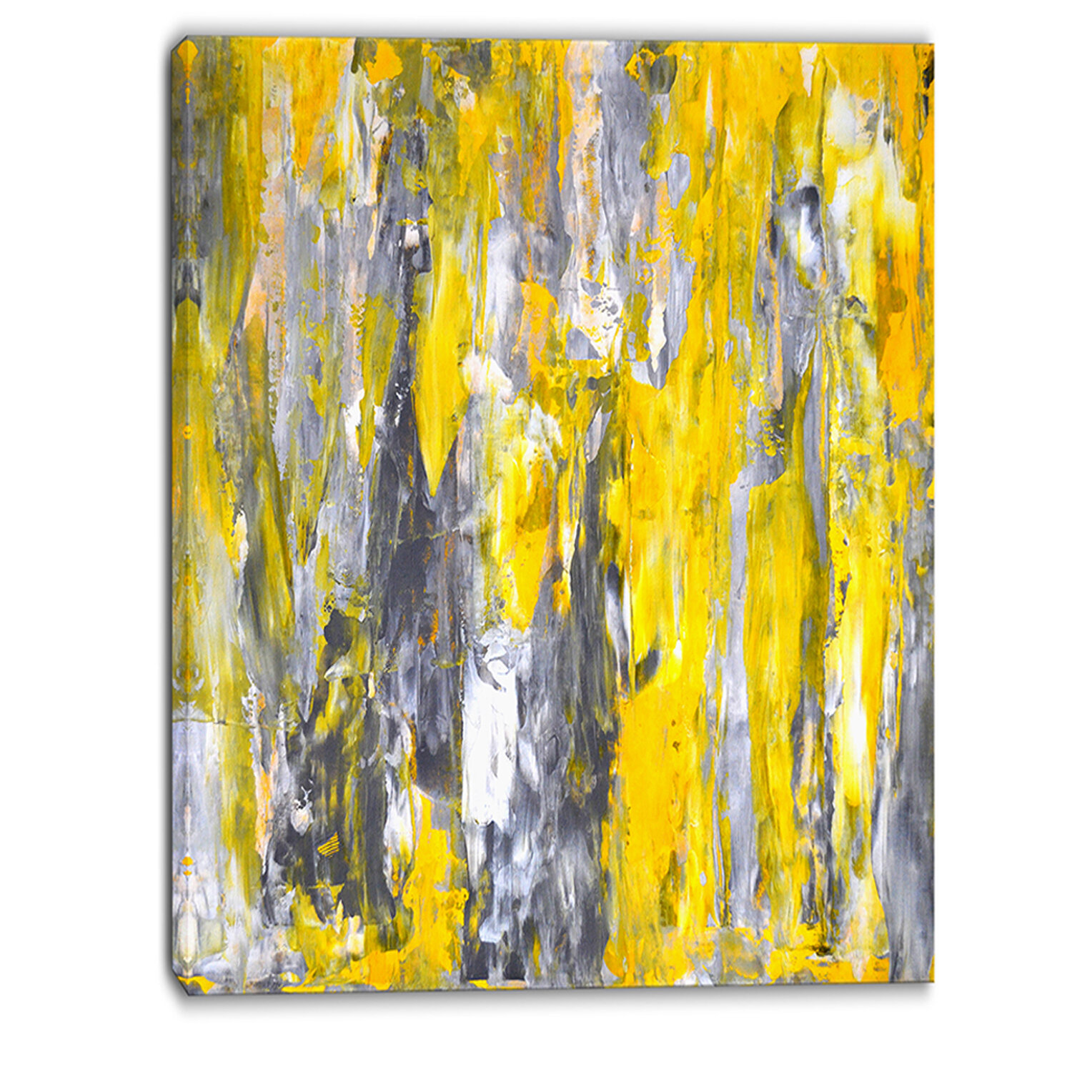 Abstract Gray And Yellow Painting
