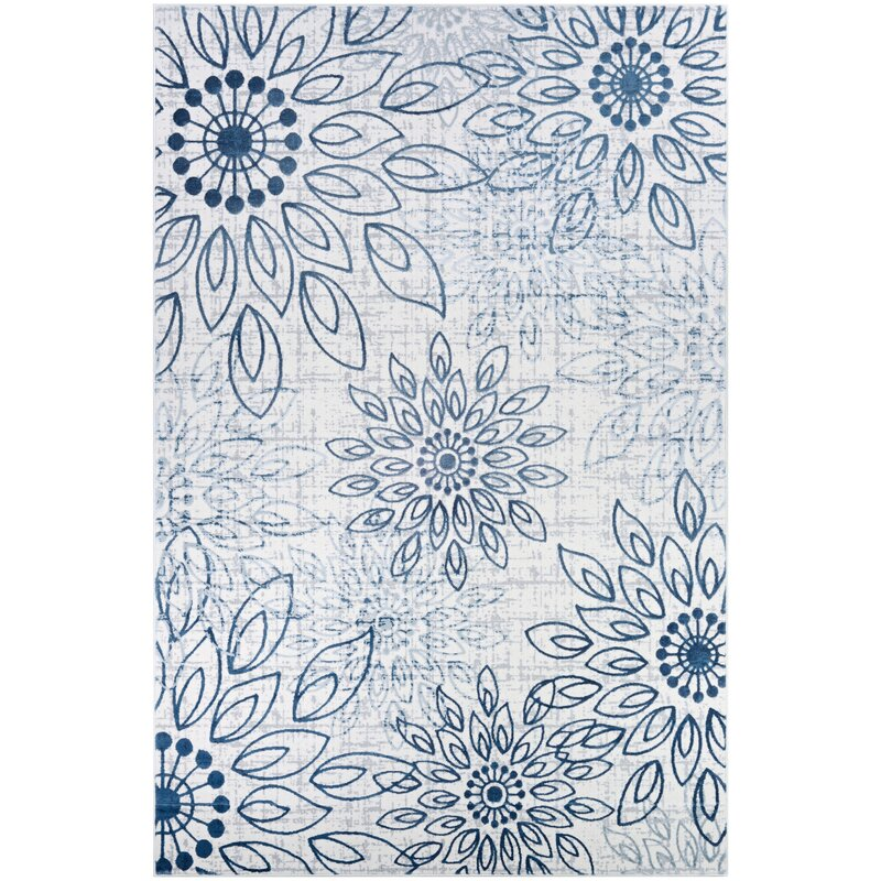 Ophelia Amp Co Jakes Steel Blue Ivory Area Rug Amp Reviews