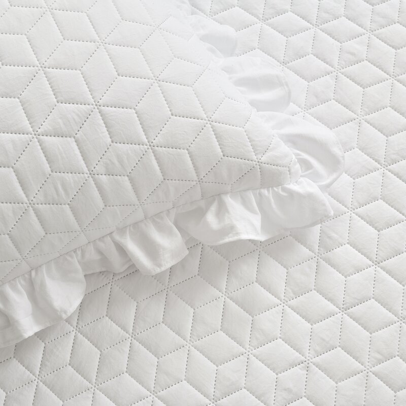 New French Toile Blue White Patchwork Luxury Quilted Bedspread Summer SET Ruffle
