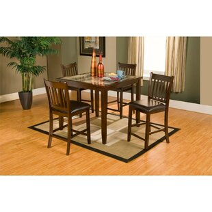 Gassett Faux Marble Top 5 Piece Solid Wood Pub Table Set