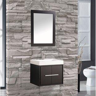 Best Reviews Peirce 24 Single Floating Bathroom Vanity Set with Mirror ByOrren Ellis
