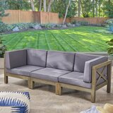 Patio Sofa with Cushions by Highland Dunes