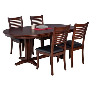 Doretha 5 Piece Solid Wood Dining Set with Dual Pedestal Table DarHome Co