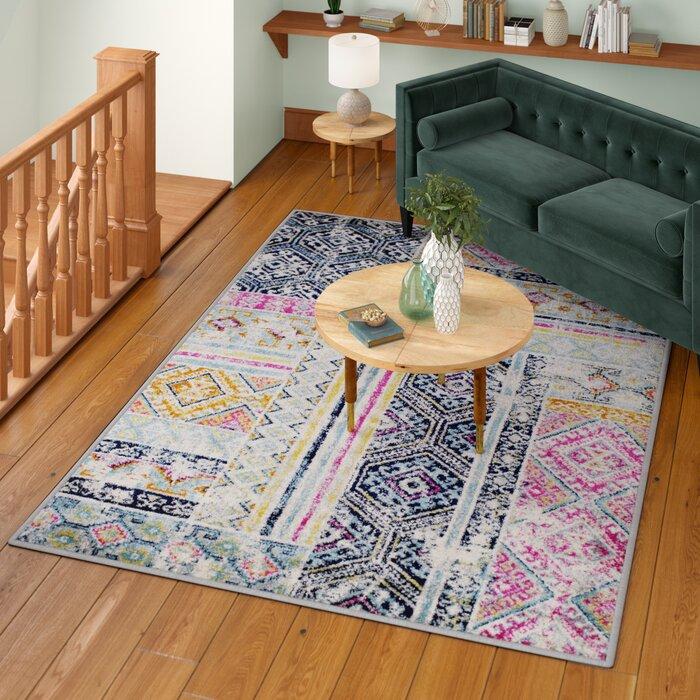 Pena Cream Navy Purple Area Rug