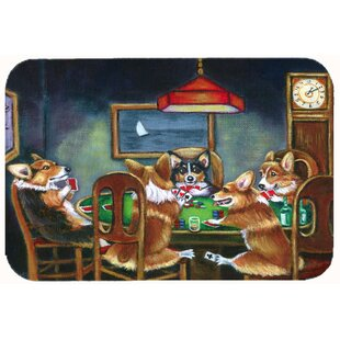 Corgi Playing Poker Kitchen/Bath Mat