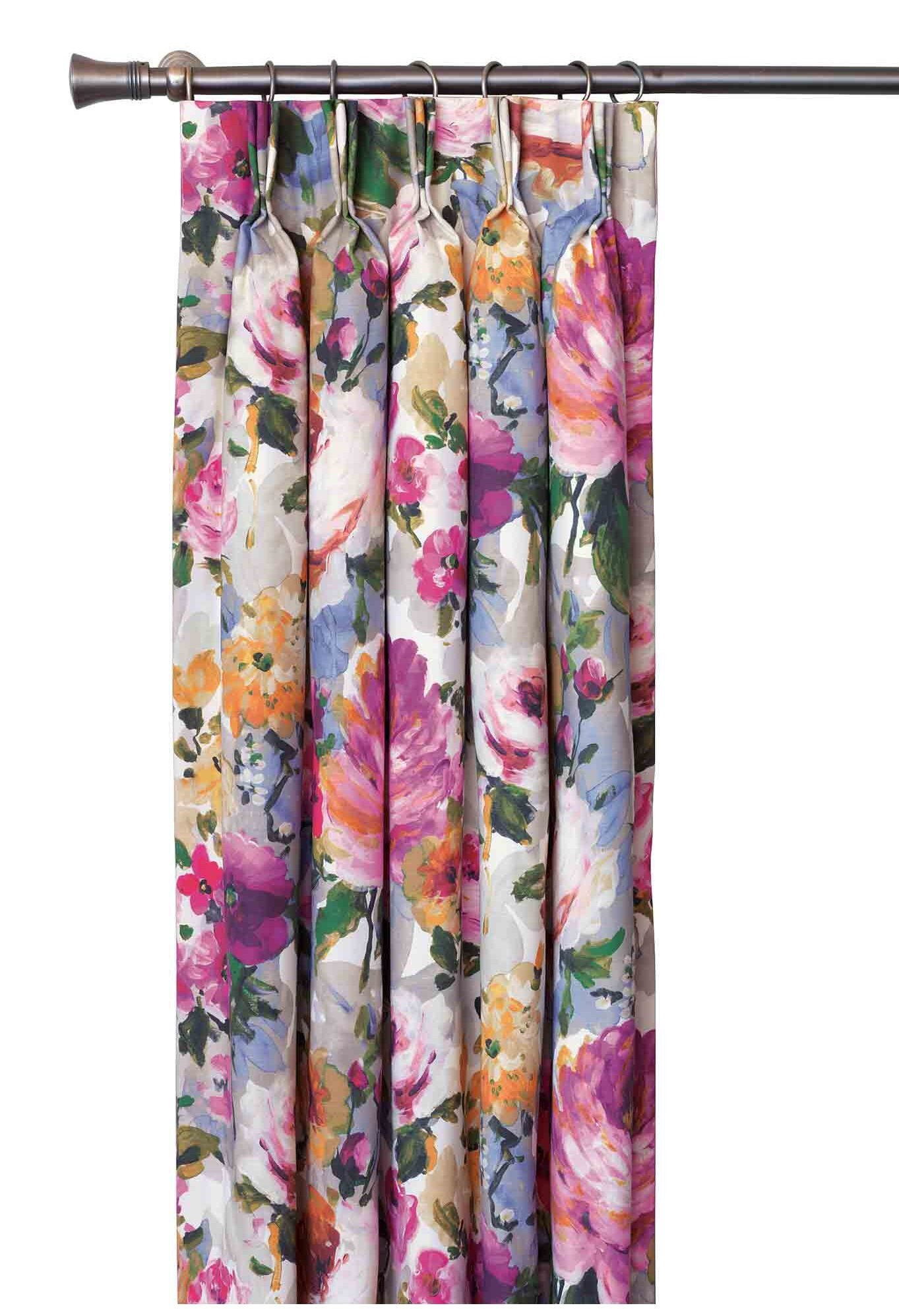 Eastern Accents Cora Floral Room Darkening Thermal Pinch Pleat Single Curtain Panel Perigold