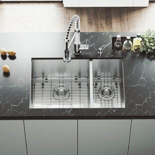 VIGO Endicott Stainless Steel Double Bowl Undermount Kitchen Sink with Grids and Strainers