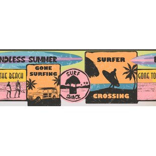 Retro Surf Signs Vintage Wall Border