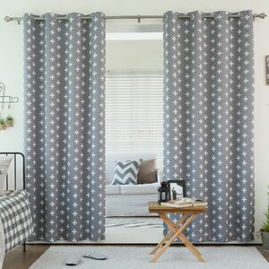 Daigneault Geometric Semi-Sheer Thermal Grommet Curtain Panels (Set of 2)