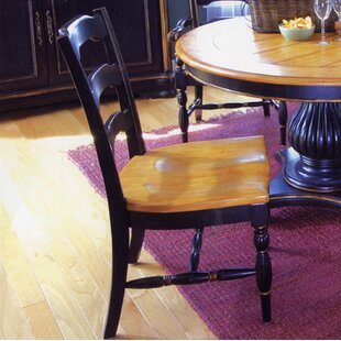 Spindler Square Solid Wood Dining Chair (Set of 2) Bay Isle Home