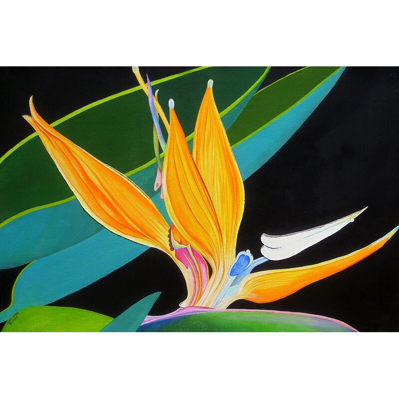 Bay Isle Home Bird Of Paradise Acrylic Painting Print On Canvas Wayfair