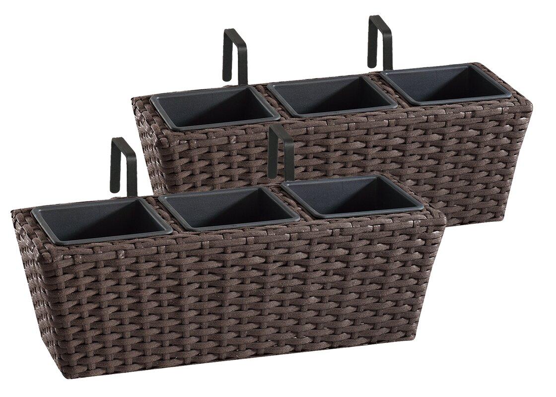 home etc 2 tlg rechteckiges blumenkasten set. Black Bedroom Furniture Sets. Home Design Ideas