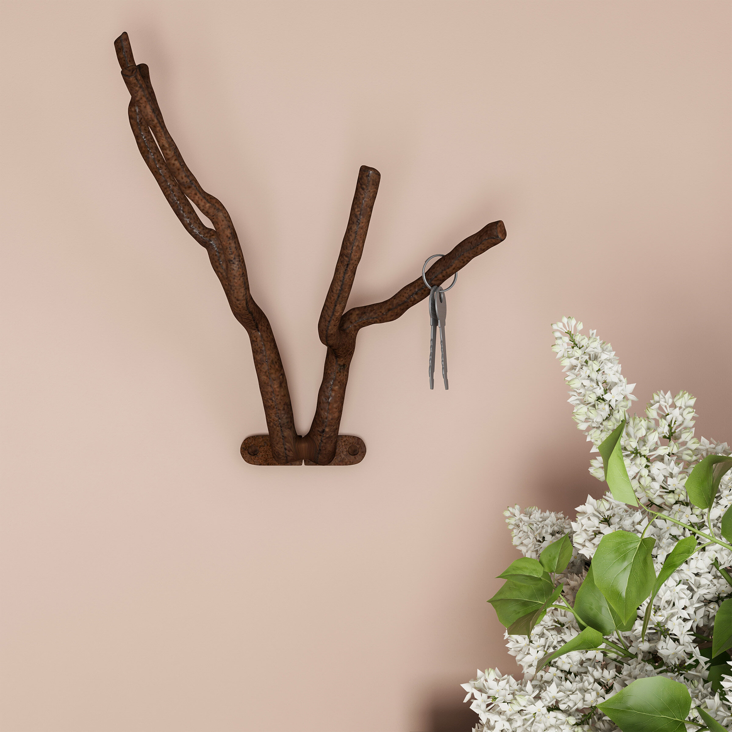 Set of 2 Cast Iron Shelf Brackets New Antique-Style Twig Branch Rustic 7 x 7 Architectural & Garden Antiques