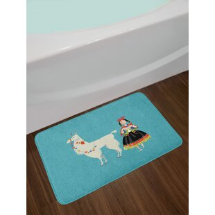 Ambesonne Llama Bath Mat by, Peruvian Woman Knitting with a White Alpaca Wrapped with Flower Colorful Illustration, Plush Bathroom Decor Mat with Non Slip Backing, 29.5 W X 17.5 W Inches, Multicolor