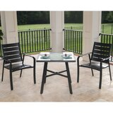 "Colson 3-Piece Commercial-Grade Bistro Set with 2 Aluminum Slat-Back Dining Chairs and a 30"" Tempered-Glass Table"