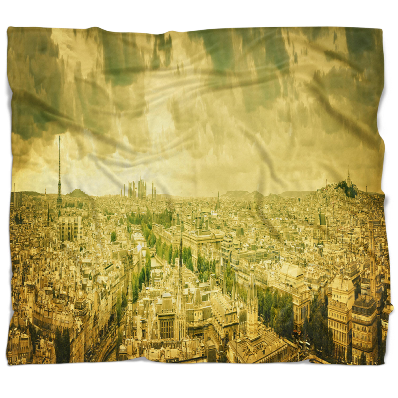 East Urban Home Photography Paris Panorama With Scenic Sky Blanket Wayfair