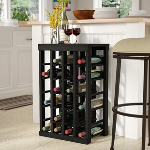 Red Barrel Studio Karnes Redwood Table Top 24 Bottle Floor Wine Rack