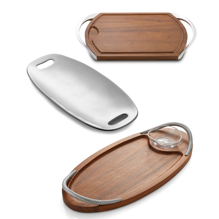 Nambe Braid Serving Board with Dipping Dish 18