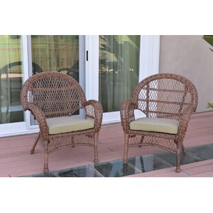 Wicker Chair with Cushions (Set of 2)
